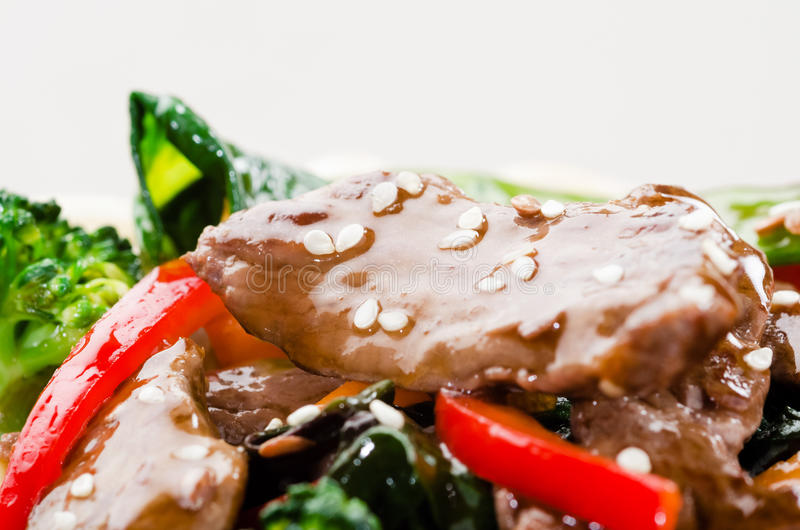 Beef strips stir fry macro stock images