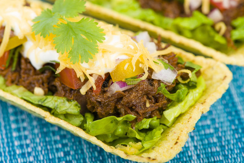 Beef Tacos. Shredded beef taco trays topped with salsa, sour cream and grated cheese royalty free stock photos