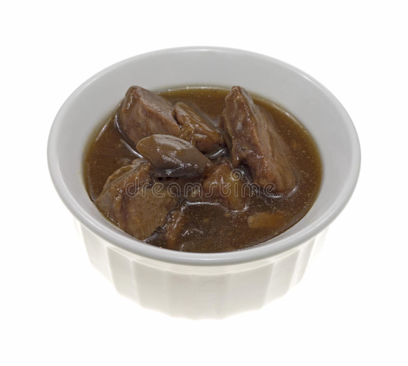 Beef tips in a small dish stock photos