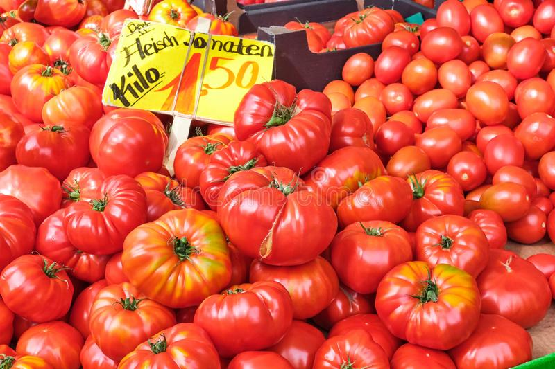 Beef tomatoes for sale royalty free stock image
