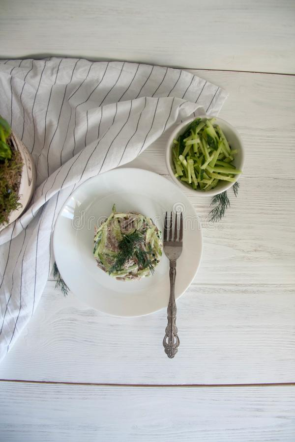 Beef tongue and fresh cucumber salad. Perfect cozy and delicious lunch: beef tongue and fresh cucumber salad with mayo and horseradish on a white plate royalty free stock images