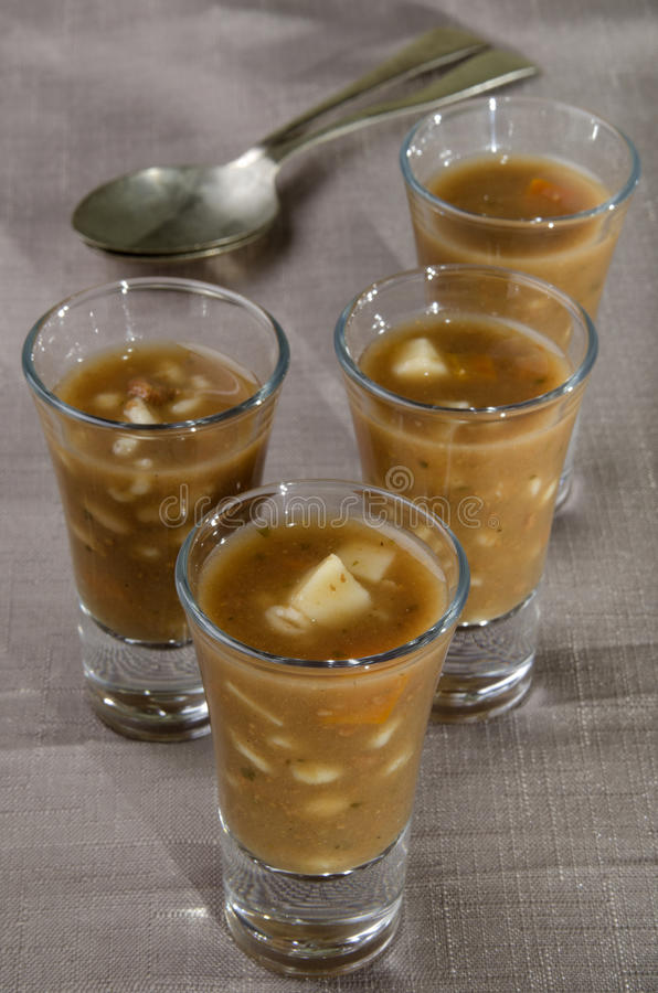 Download Beef Vegetable Soup In A Shot Glass Stock Photo Image 48351123