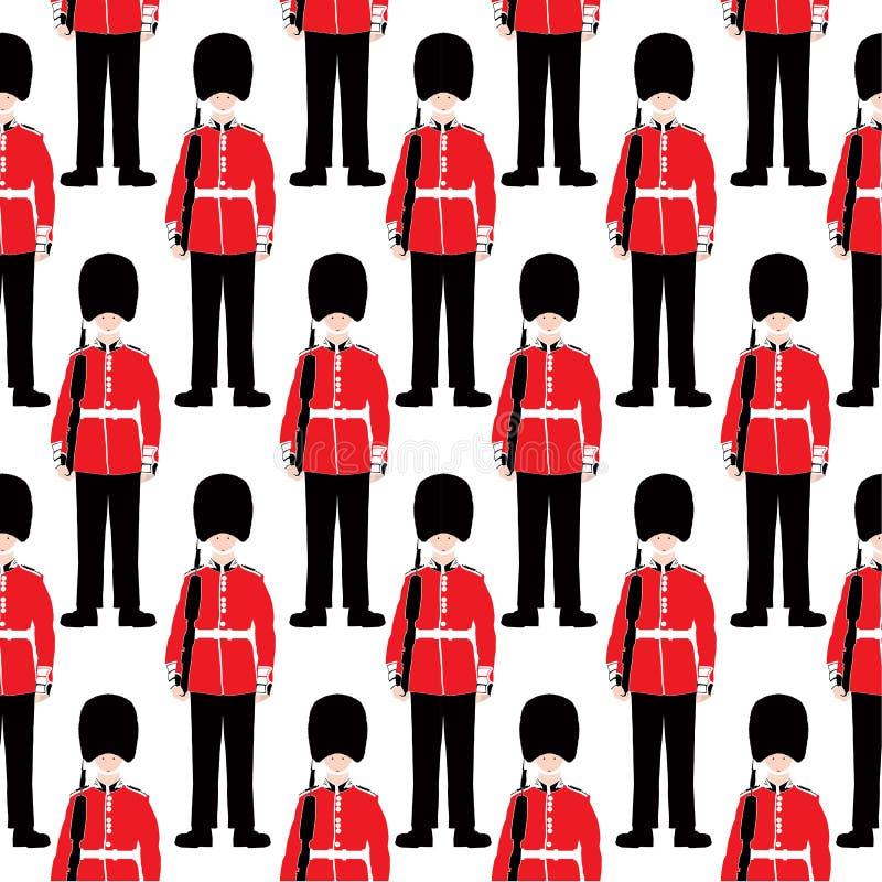 Beefeater soldier – London - seamless pattern stock illustration