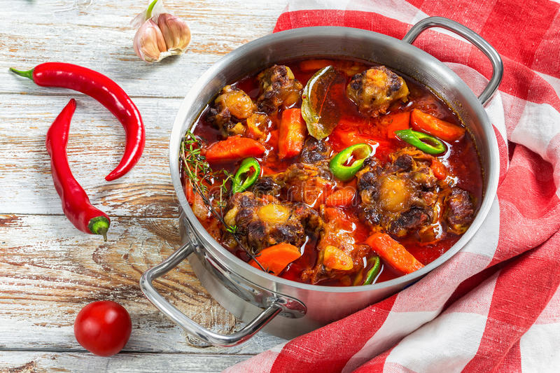 Beefl soup in cooking pot, close-up royalty free stock photos