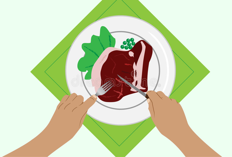 Beefsteak. To cut a beefsteak on a plate. Vector. Without mesh vector illustration