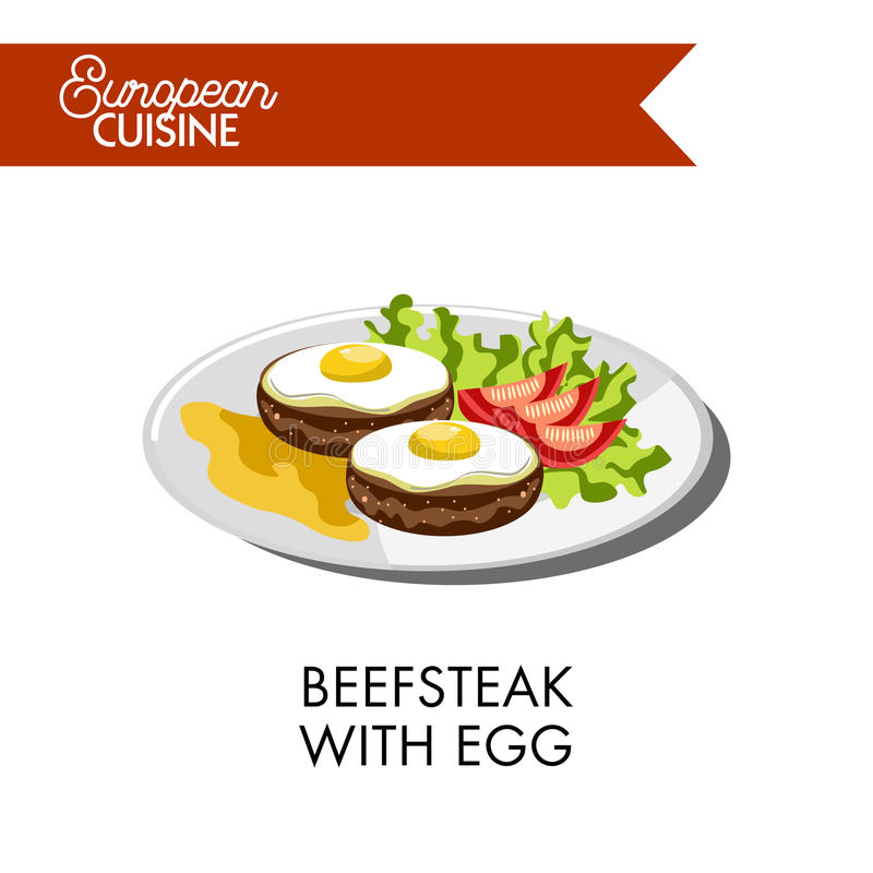 Beefsteak with egg and tomatoes from European cuisine. Beefsteak with fried egg on top, tomatoes laid on salad leaf and mustard sauce from European cuisine royalty free illustration