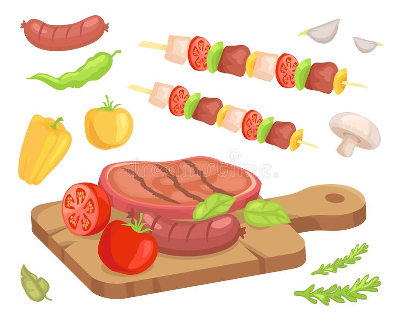 Beefsteak Roasted Meat Icons Vector Illustration. Beefsteak roasted meat isolated set of icons vector. Wooden cooking board with well done beef with sausages vector illustration