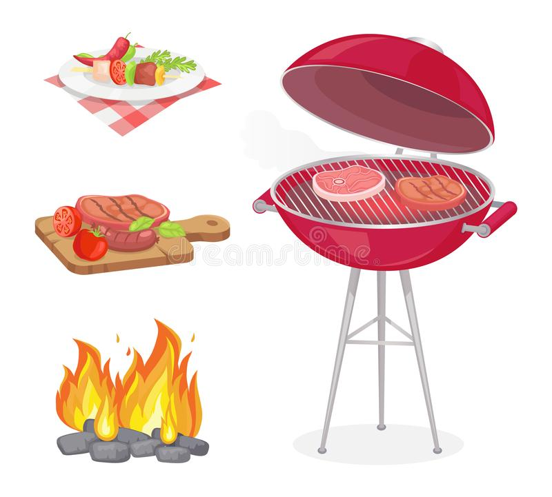 Beefsteak Roasted Meat Set Vector Illustration. Beefsteak roasted meat on grille grid isolated icons set vector. Fire flame and beef served on plate and wooden royalty free illustration