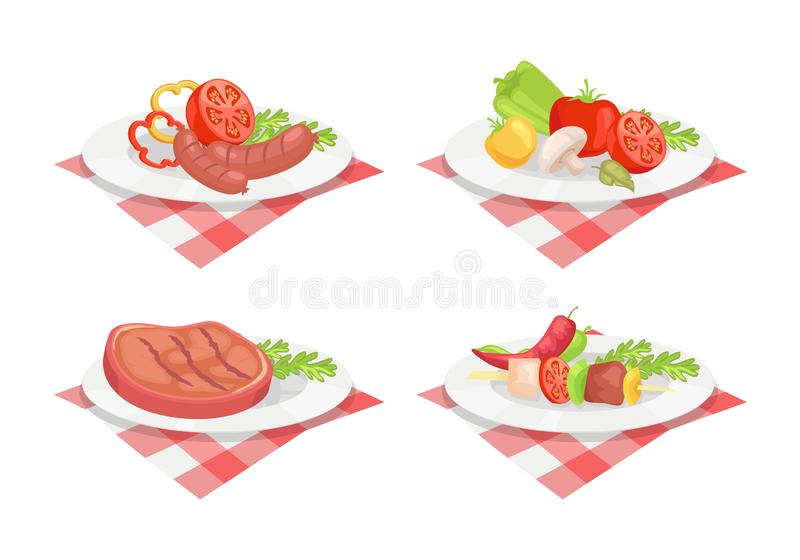 Beefsteak and Sausage on Plate Vector Illustration. Beefsteak and roasted fried sausage served on plate isolated icons vector. Vegetables dish serving mushroom stock illustration