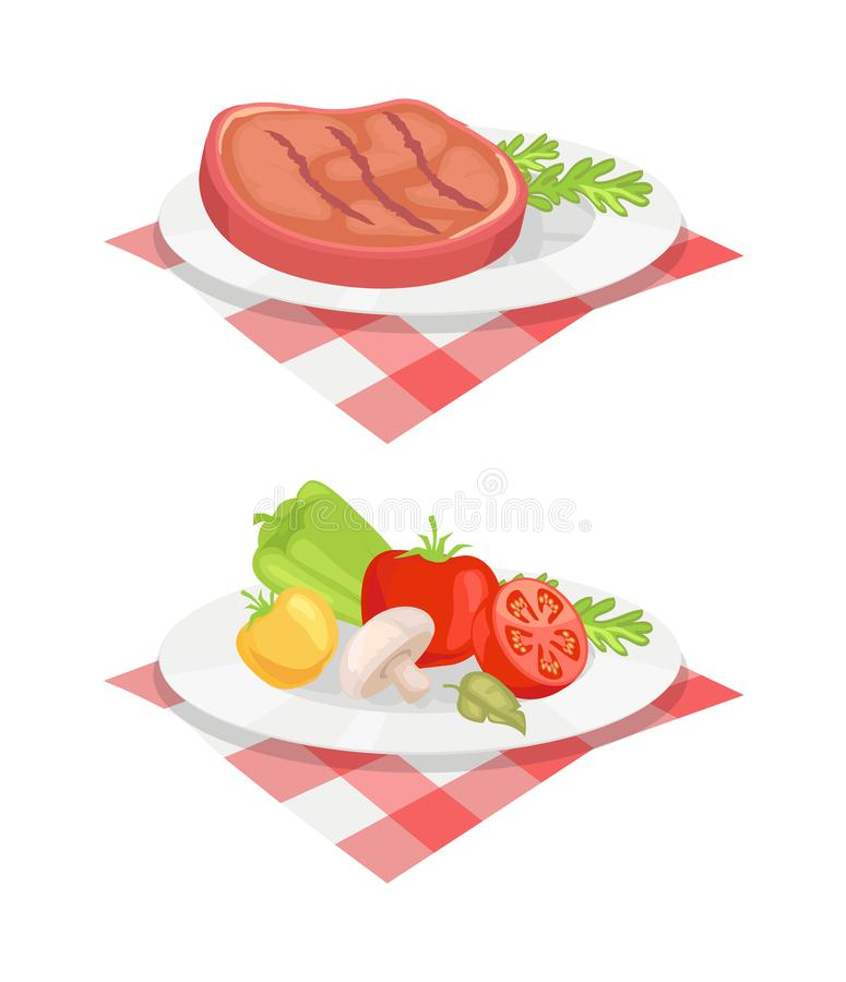 Beefsteak Served on Plate Vector Illustration. Beefsteak served on plate and cloth isolated icons vector set. Beef roasted barbeque bbq meat with vegetables and vector illustration