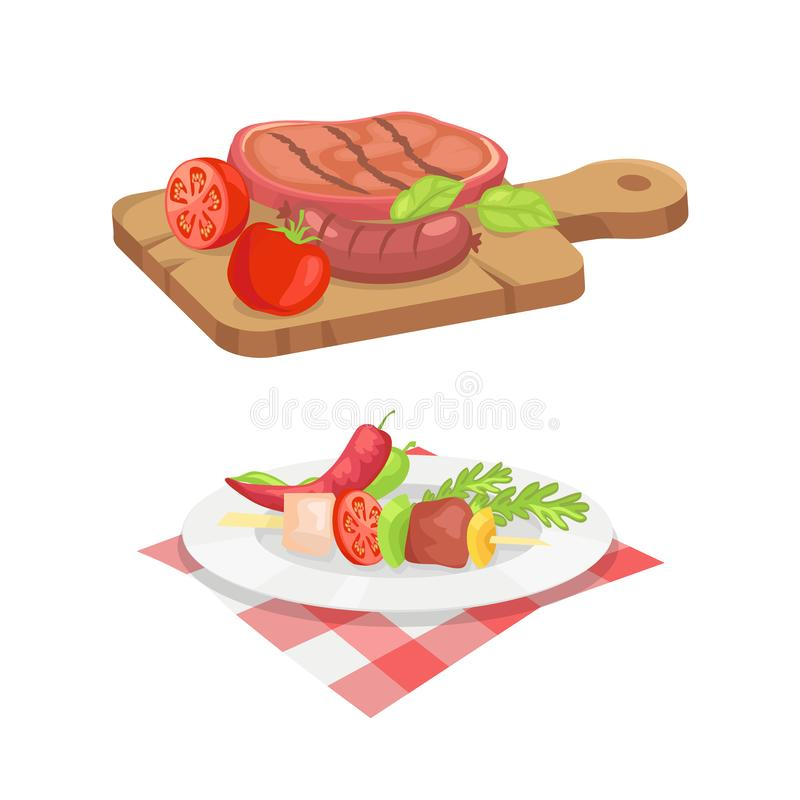 Beefsteak and Skewer Icons Vector Illustration. Beefsteak and skewer isolated icons vector set. Roasted cooked well done meat served on wooden board. Plate with royalty free illustration
