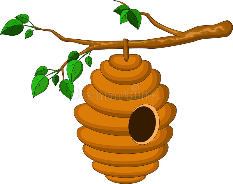 Beehive hanging from a branch isolated royalty free illustration
