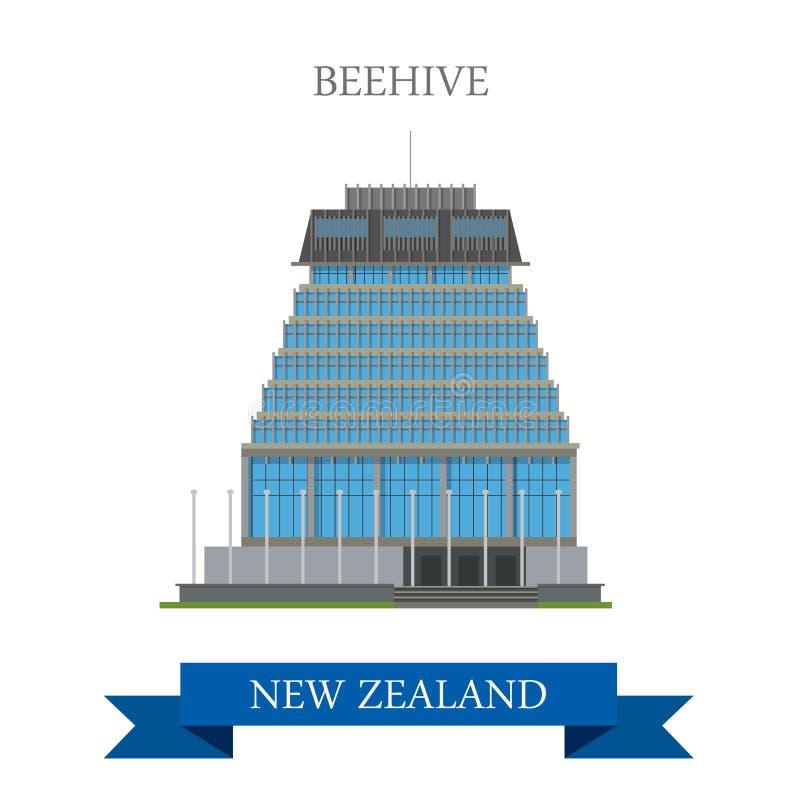 Beehive Parliament Building Wellington New Zealand vector flat. Beehive Parliament Building in Wellington New Zealand. Flat cartoon style historic sight stock illustration