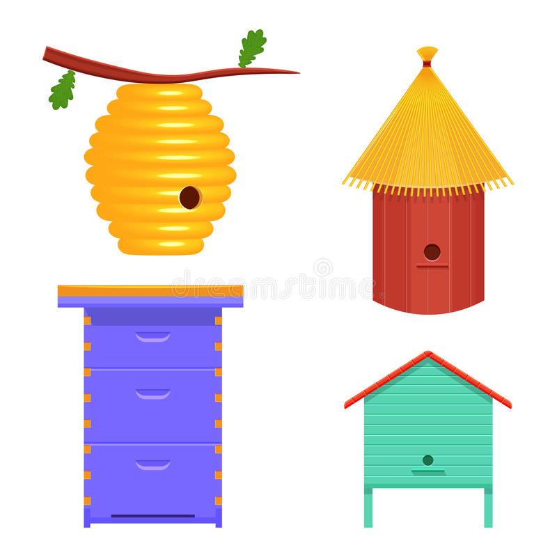 Beehive set vector illustration. hive isolated on white background stock illustration