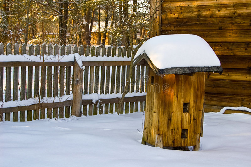 Beehive in winter stock photography