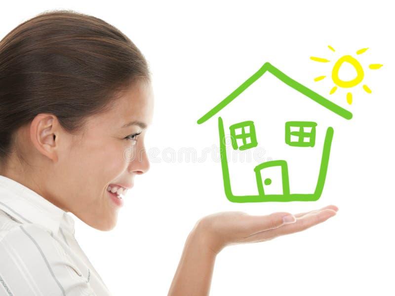beeing的概念愉快的房子想法责任人 免版税库存照片