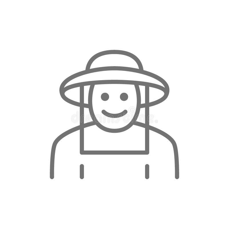 Beekeeper в линии значке защитной одежды белизна изолированная предпосылкой иллюстрация вектора
