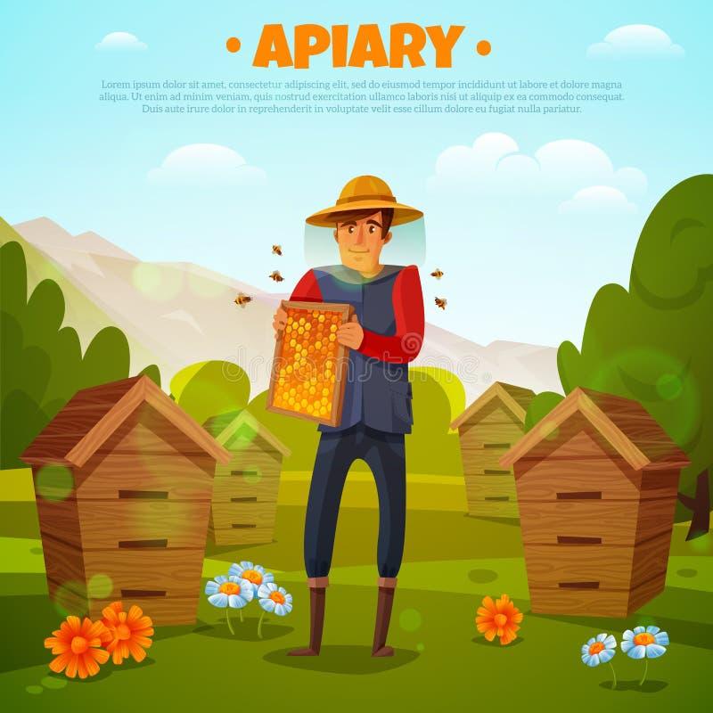 Beekeeper с иллюстрацией шаржа сотов иллюстрация штока