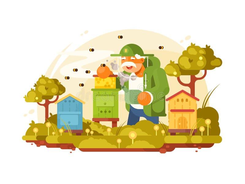 Beekeeper elderly man vector illustration