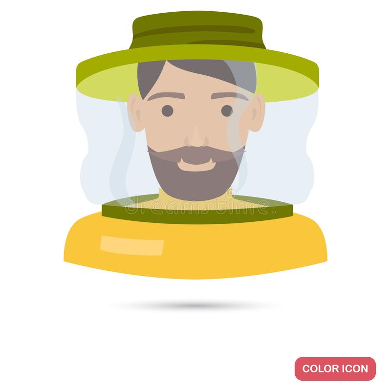 Beekeeper a face mask color flat icon stock illustration