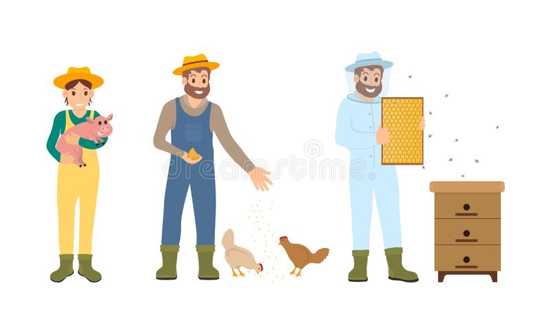 Beekeeper Farming People Set Vector Illustration vector illustration