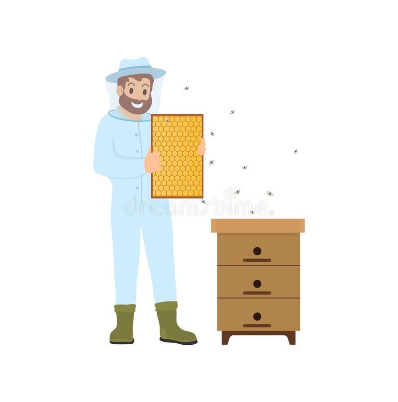 Beekeeper Farming Person Bees Vector Illustration royalty free illustration