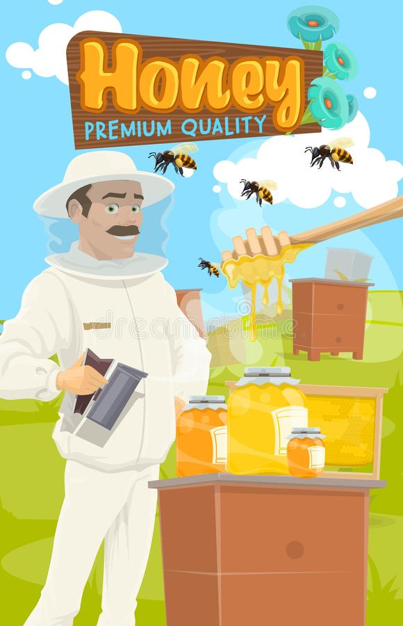 Beekeeper gathers honey, apiary farm and dipper royalty free illustration