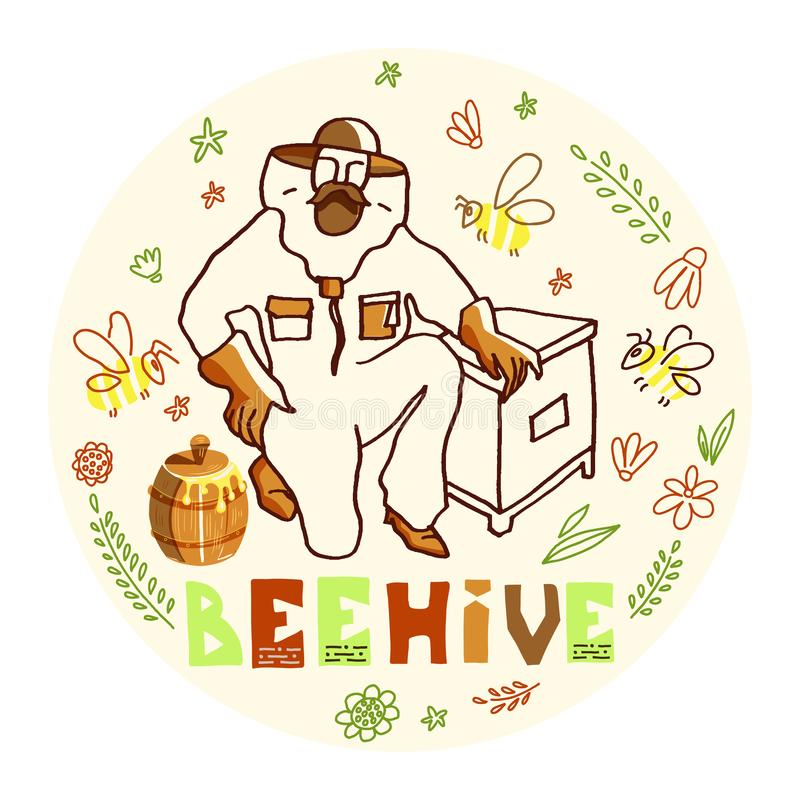 Beekeeper with Honey. Hand drawn ink vector illustration with beekeeper and honey. Figure of beekeepers in protective outfit with honeycomb inside round doodle vector illustration