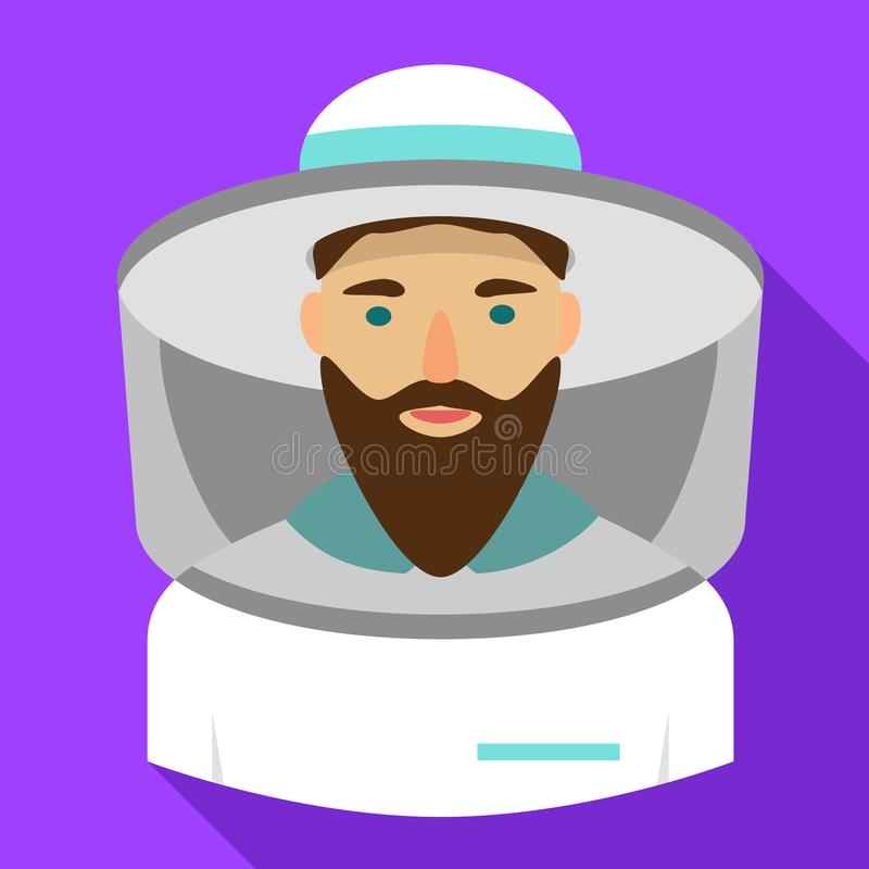 Beekeeper icon, flat style royalty free illustration
