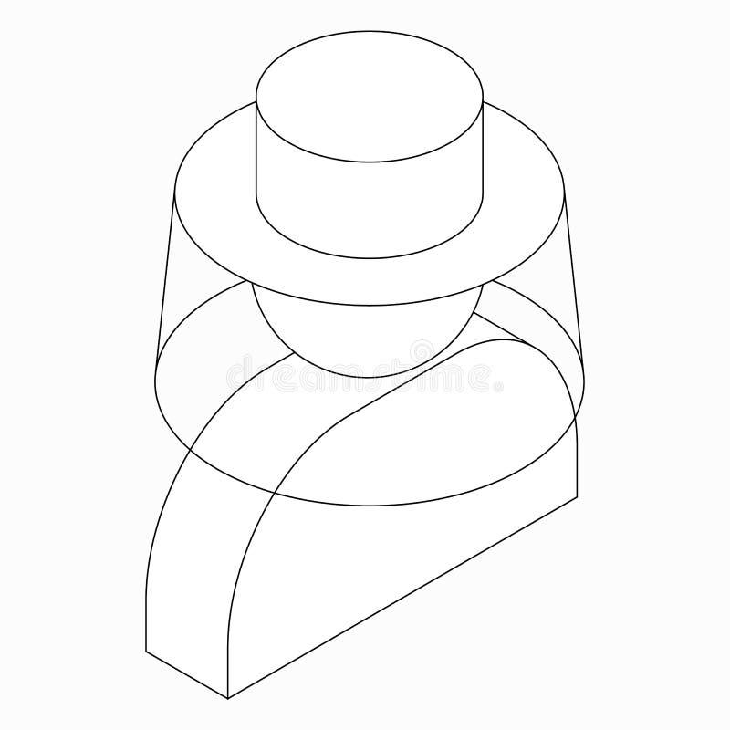 Beekeeper icon, isometric 3d style. Beekeeper icon in isometric 3d style isolated on white background stock illustration