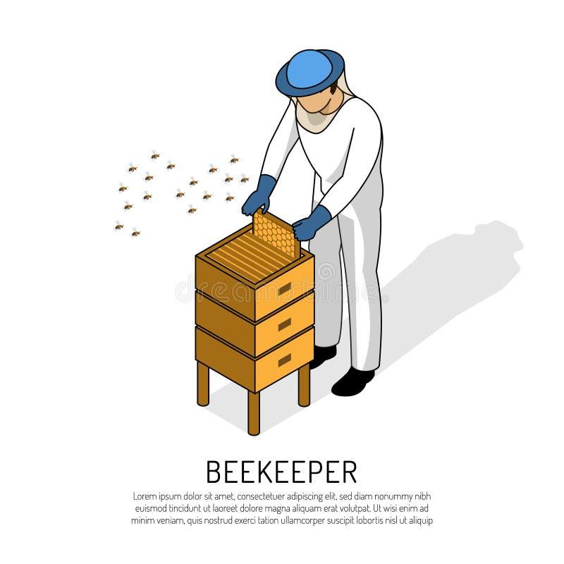 Beekeeper Isometric Illustration royalty free illustration