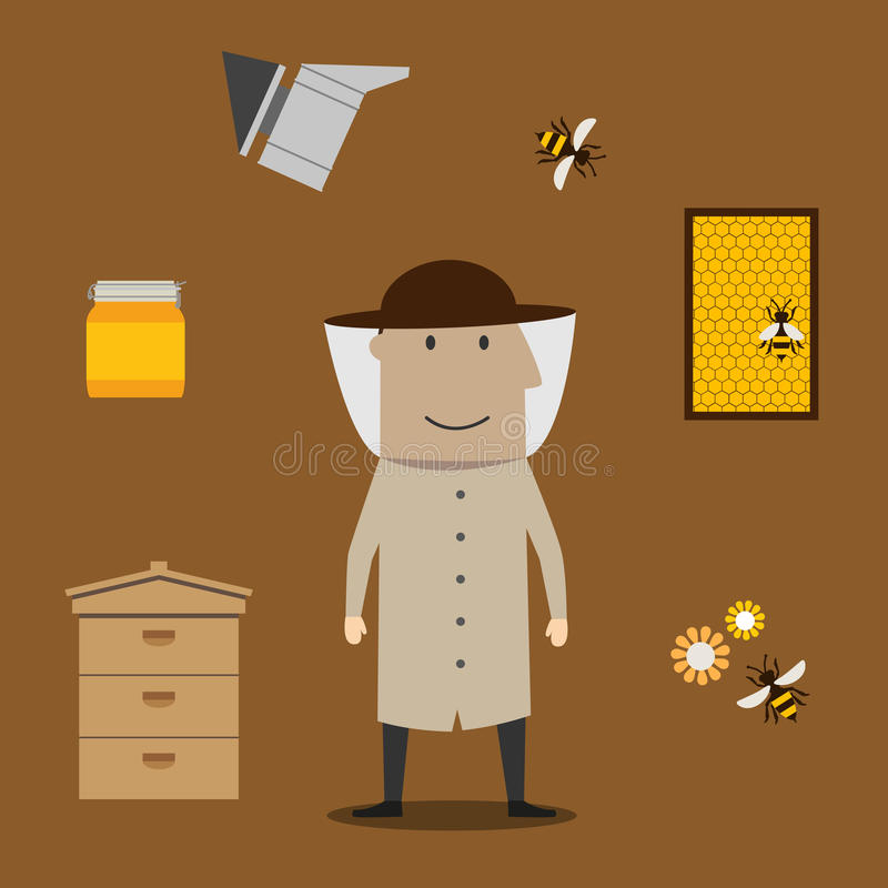 Free Beekeeper Man And Beekeeping Objects Stock Images - 67876504