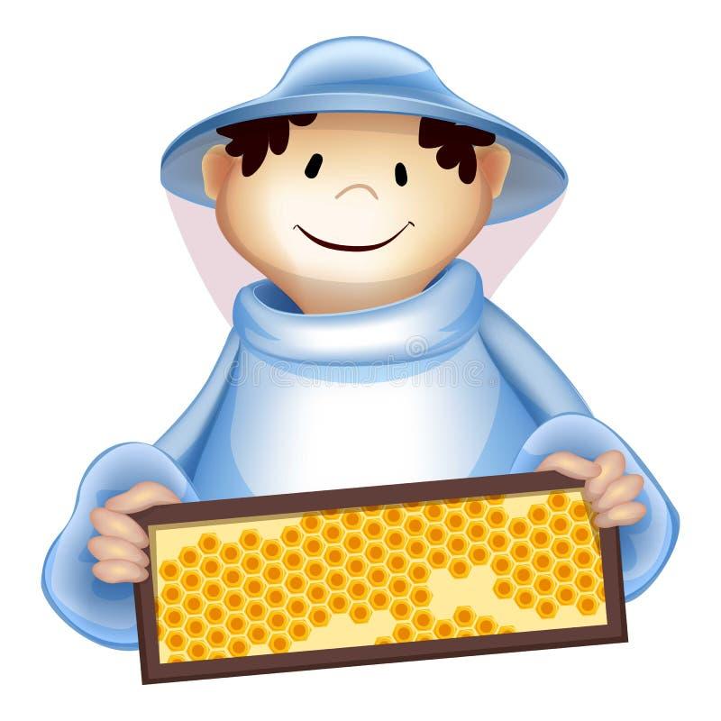Beekeeper man icon, cartoon style vector illustration