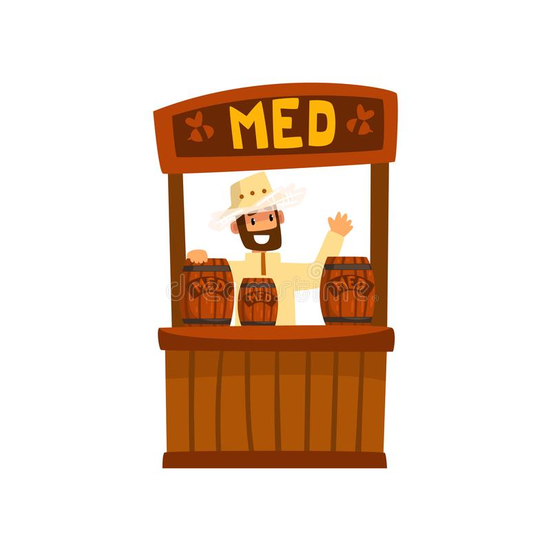 Beekeeper man selling honey at farmers market, apiculture and beekeeping concept vector Illustration royalty free illustration