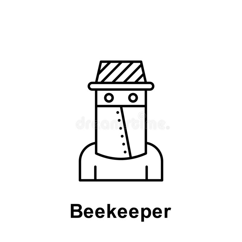 Beekeeper outline icon. Element of labor day illustration icon. Signs and symbols can be used for web, logo, mobile app, UI, UX stock illustration