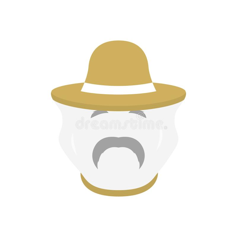 Beekeeper with protect hat icon. Men farmer face. vector illustration
