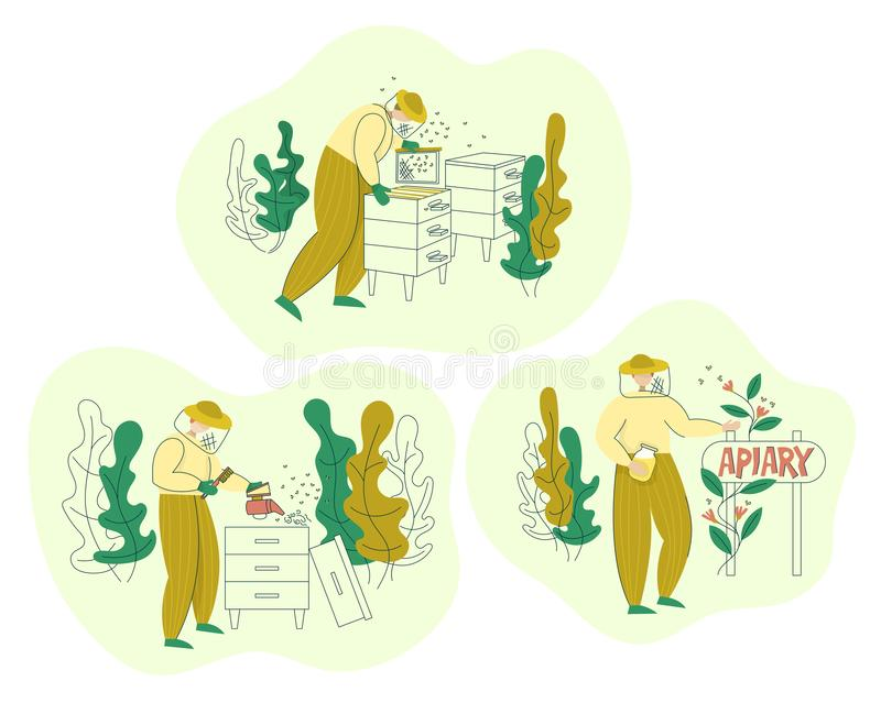 Beekeeper in a protective suit working on apiary. Honey organic business production process set. Isolated flat trendy cartoon vector illustration