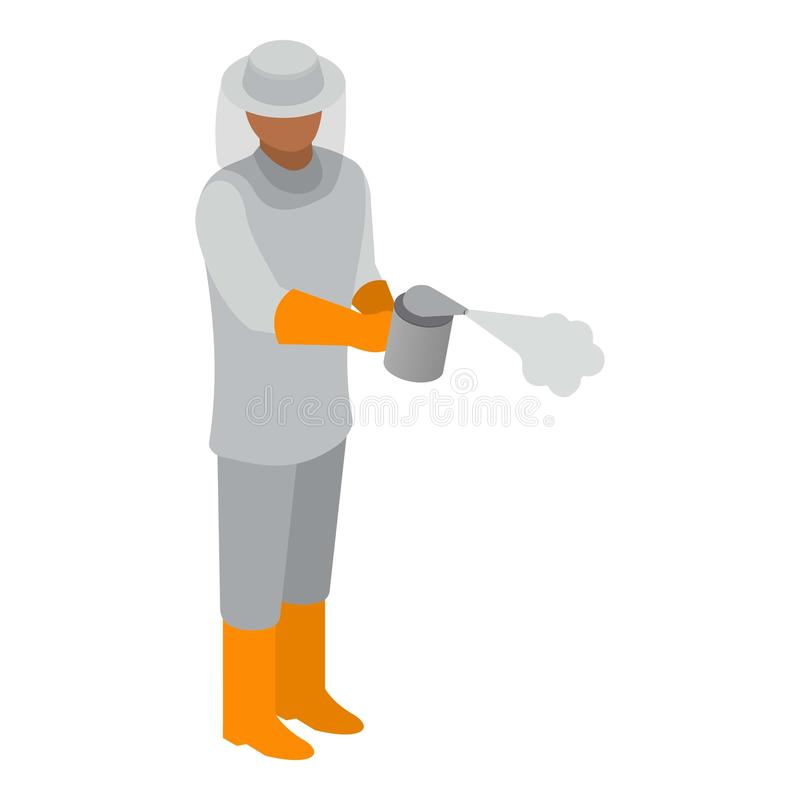 Beekeeper with smoker icon, isometric style royalty free illustration