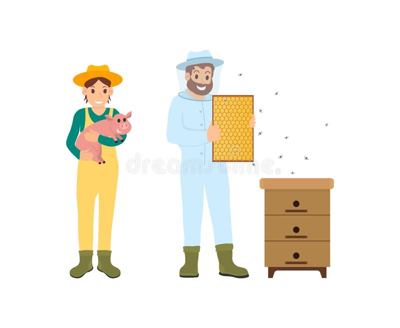 Beekeeper and Woman with Pig Vector Illustration stock illustration