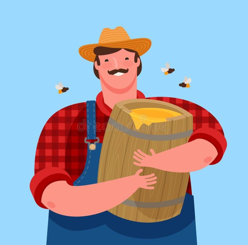 Beekeeperen rymmer en träkagge med honung Biodling tecknad filmvektorillustration royaltyfri illustrationer