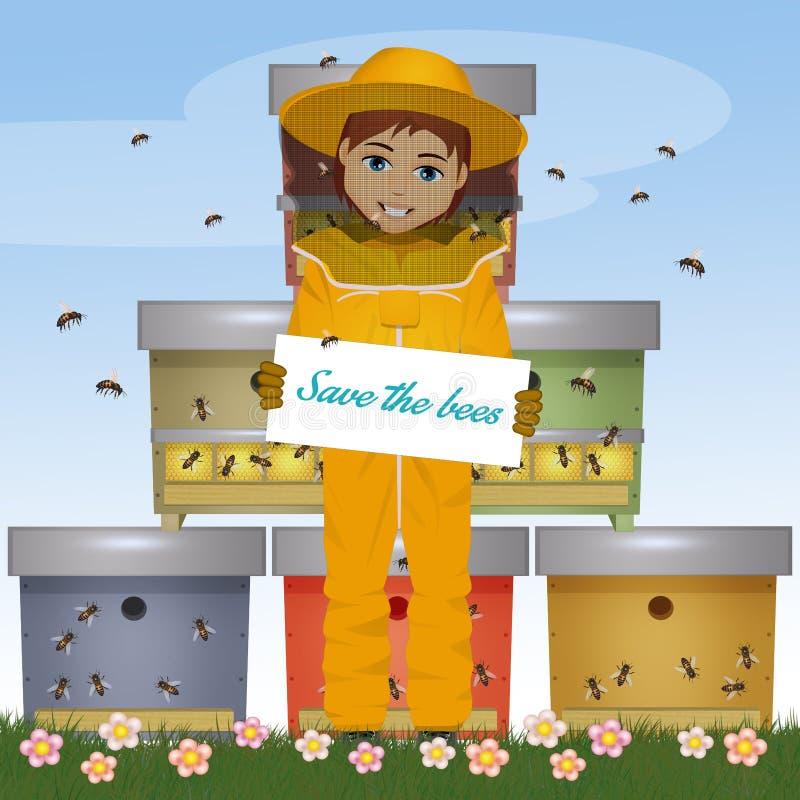 Beekeepermannen med kortet sparar bina royaltyfri illustrationer