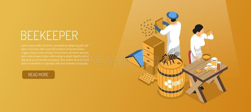 Beekeepers Isometric Horizontal Banner royalty free illustration
