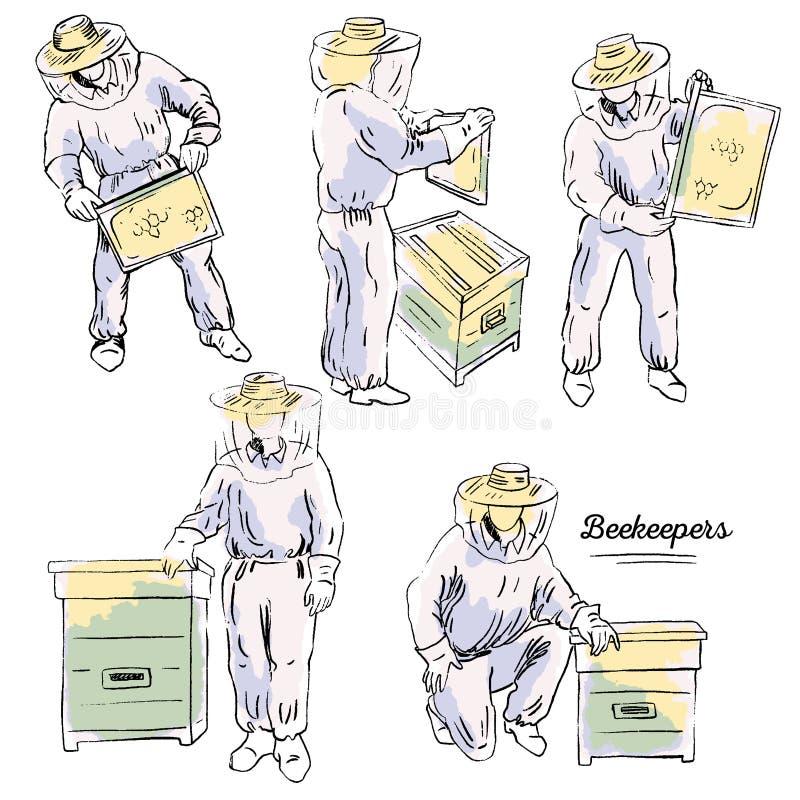 Beekeepersuppsättning royaltyfri illustrationer