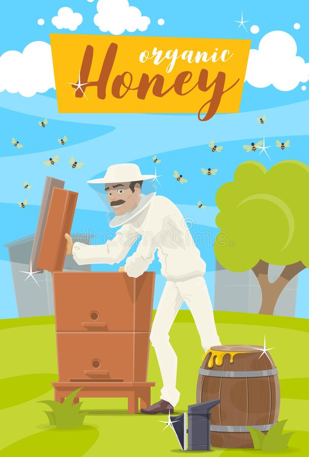 Honey farm. Beekeeper and hive at apiary vector illustration