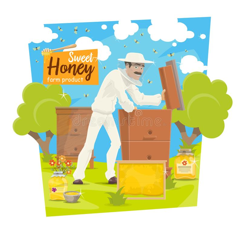 Beekeeping apiary, bees and beekeeper vector illustration
