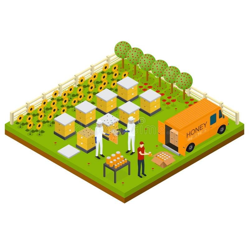 Beekeeping Apiary Farm Isometric Concept Isometric View. Vector vector illustration