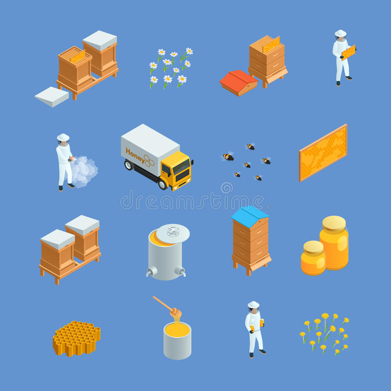 Beekeeping Apiary Isometric Icons Set stock illustration