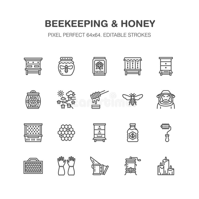 Beekeeping, apiculture flat line icons. Beekeeper equipment, honey processing, honeybee, beehives types natural products stock illustration