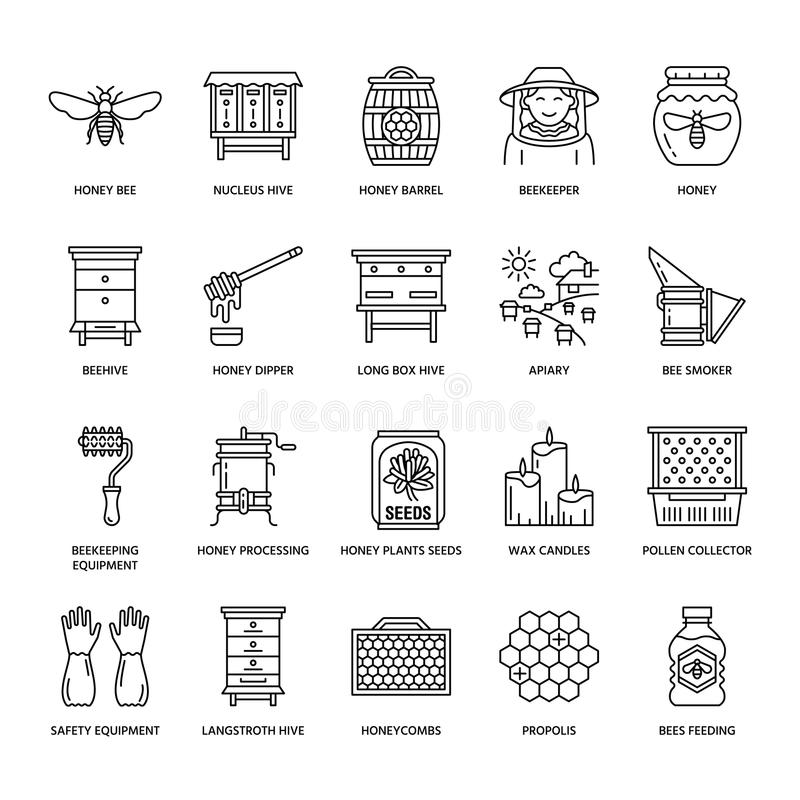 Free Beekeeping, Apiculture Line Icons. Beekeeper Equipment, Royalty Free Stock Photo - 107033675