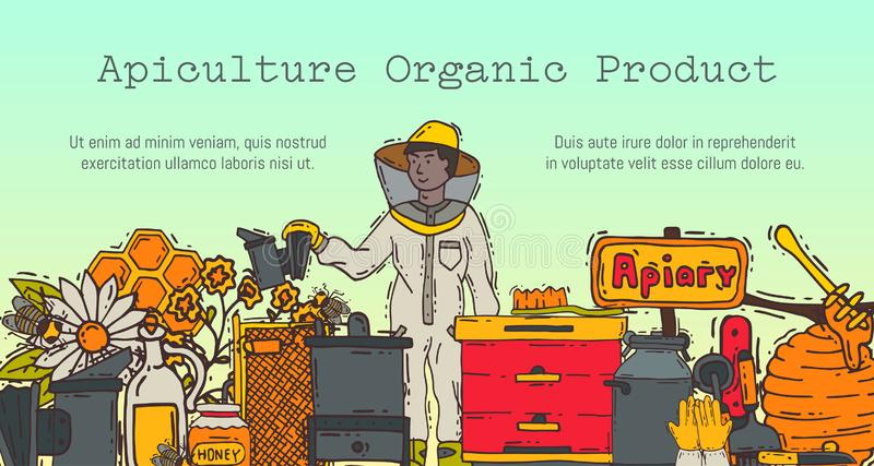 Beekeeping banner, apiary and beekeeper in protective suit vector illustration. Man with equipment. Honeycomb, honey vector illustration